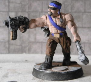Necromunda ganger with bolt pistol and club converted.